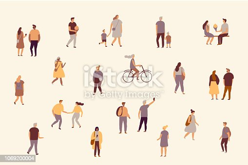 Crowd.  Male and female flat characters isolated on white background.