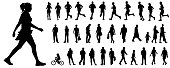 Detailed black vector illustration people silhouettes