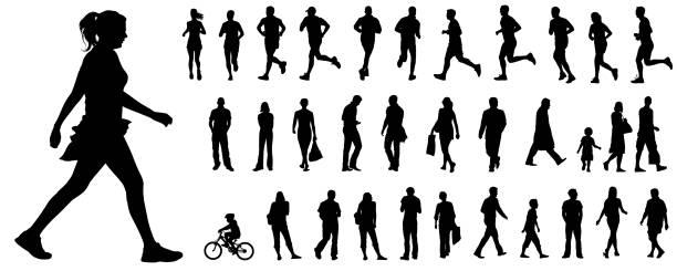 ilustrações de stock, clip art, desenhos animados e ícones de vector people silhouettes - young woman running city