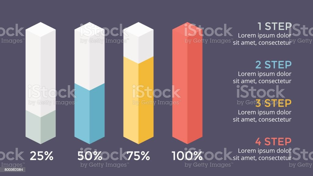 Vector percents status infographic, growth diagram chart, performance graph presentation. Business progress concept with 4 options, parts, steps, processes. 16x9 dark slide template vector art illustration