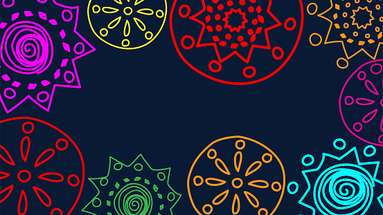 Vector. Perforated colored patterns, hand-drawn Papel Picado pattern. Hispanic Heritage Month. Polygonal pattern for web banner, poster, cover, splash, social network.