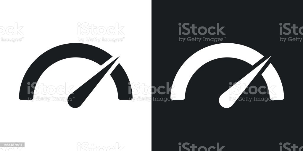 Vector performance measurement icon. Two-tone version on black and white background