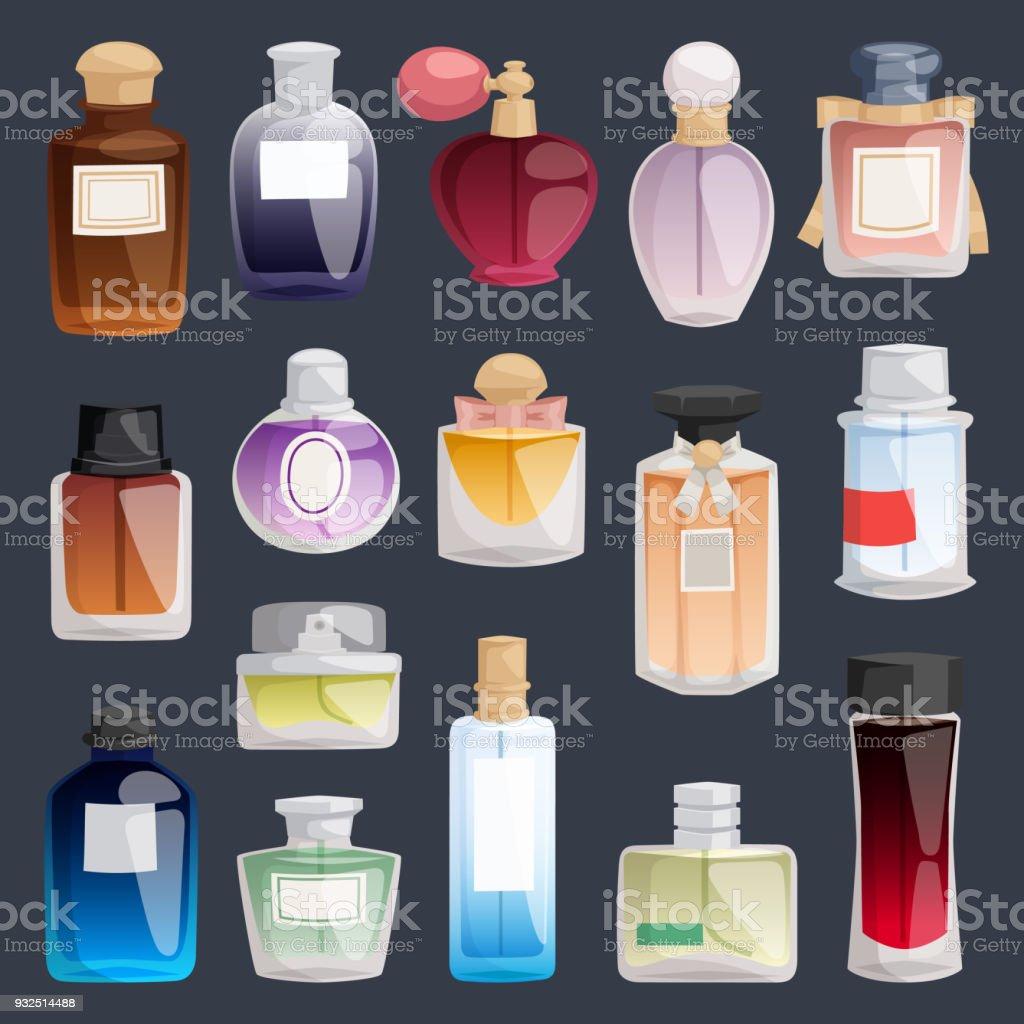 Vector perfume moda recipiente frasco pacote modelo cheiro pulverizador ilustração perfume loja símbolos elegantes mercadoria presente. Beleza luxo líquido fragrância aroma perfume garrafa aromaterapia - ilustração de arte em vetor