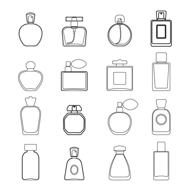 illustrazioni stock, clip art, cartoni animati e icone di tendenza di vector perfume icon set in line art style isolated on white background. - profumi spray