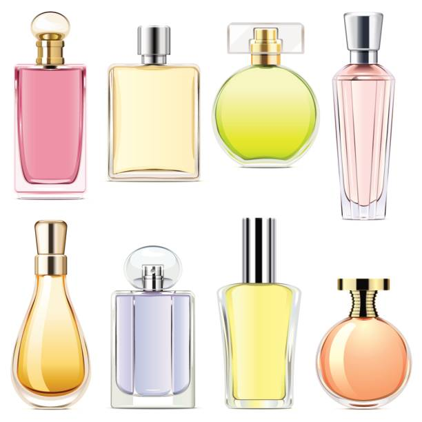 Vector Perfume Icons Vector Perfume Icons isolated on white background scented stock illustrations