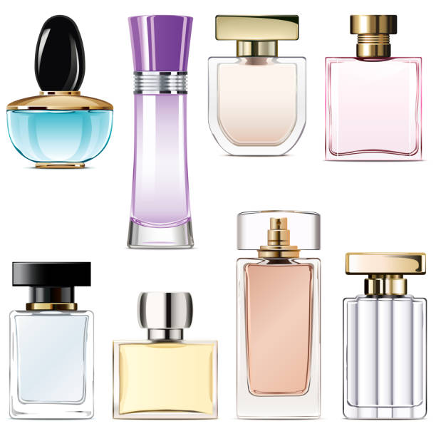 vector perfume water icons - perfumy stock illustrations