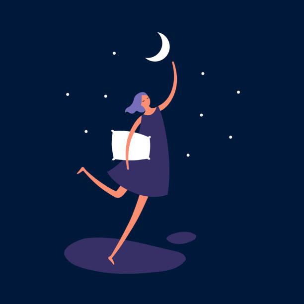 bildbanksillustrationer, clip art samt tecknat material och ikoner med vektor person dröm modern illustration. trendig stil kvinna flyga över månen till stjärnan isolerad på blue night sky bakgrund. begreppet drömmer, andlig tillväxt, framgång, lycka. - kvinna tillfreds