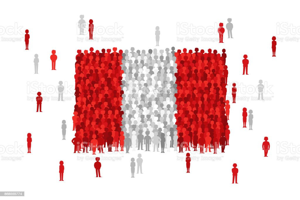 Vektor Peru Staatsflagge von Cartoon Menschenmenge gebildet – Vektorgrafik