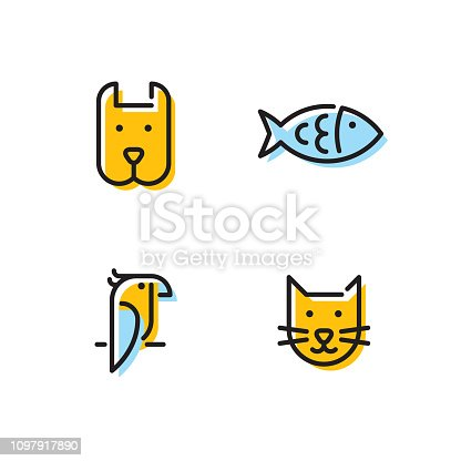 Pet logo design template set. Vector cat, dog, fish, bird sign and symbol collection. Animal friend illustration isolated on background. Modern care and goods label for veterinary clinic, zoo, petfood