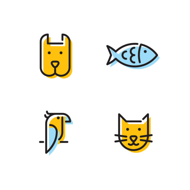 Vector Pet Icon Logo Set Pet logo design template set. Vector cat, dog, fish, bird sign and symbol collection. Animal friend illustration isolated on background. Modern care and goods label for veterinary clinic, zoo, petfood bird symbols stock illustrations