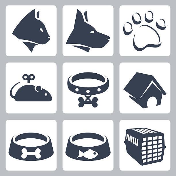 vektor haustier icons set - hundehalsbänder stock-grafiken, -clipart, -cartoons und -symbole