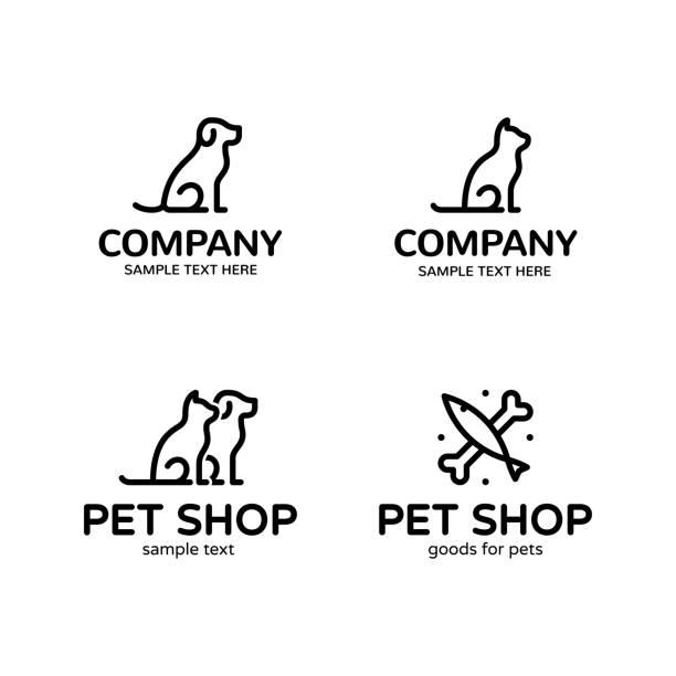 ベクトル ペット ロゴ テンプレート セット - 魚の骨点のイラスト素材/クリップアート素材/マンガ素材/アイコン素材