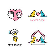 Vector pet love design poster set. Color animal banner illustrations showing pet adoption, charity, donation, homeless help. Linear icon logo templates with dog, cat, heart, paw, helping hand, house