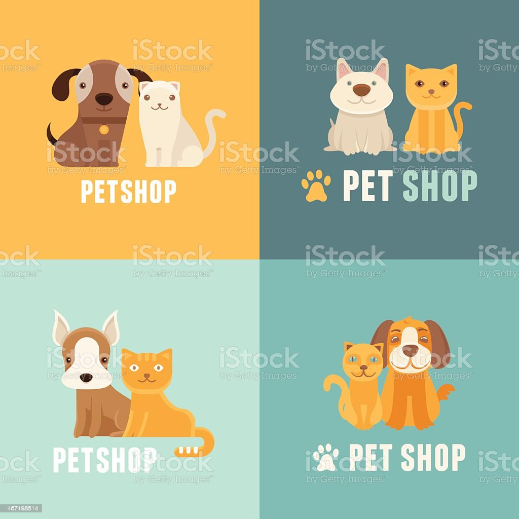 Vector pet shop logo design templates vector art illustration