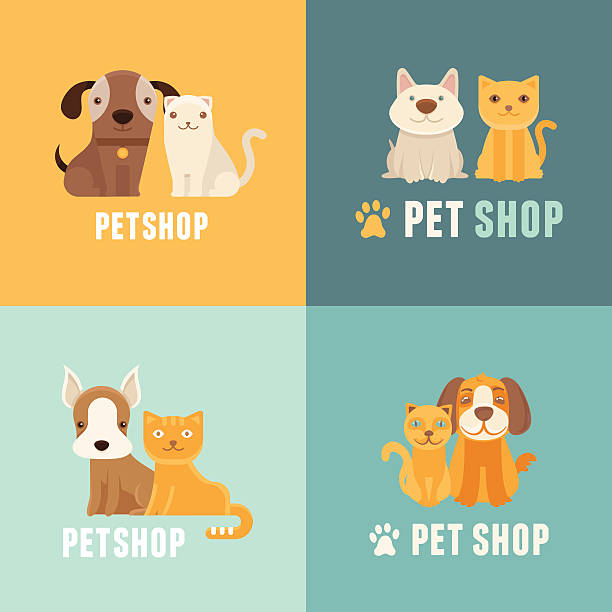 vector pet shop logo design templates - pets stock illustrations, clip art, cartoons, & icons