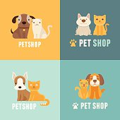 Vector pet shop logo design templates
