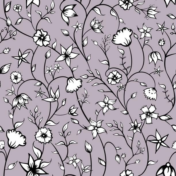 Vector Petite indio ornamentos florales línea arte fondo de patrón sin costuras. - ilustración de arte vectorial