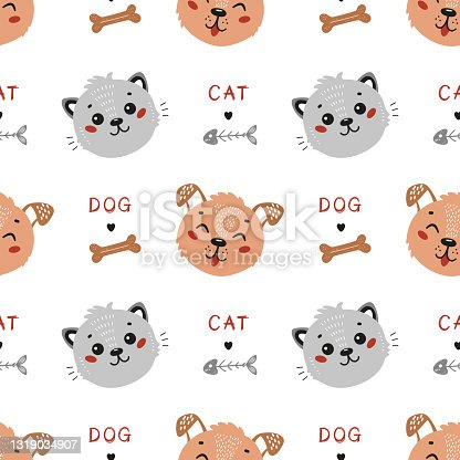 Vector Pets. Cute Cat and Dog Seamless Pattern. Childish Background with Little Kitten and Funny Puppy. Baby Animal Heads Drawing for Tee Print for Kids