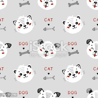 Vector Pets. Cute Little Cat and Funny Dog Seamless Pattern. Childish Background with Kitten and Puppy. Baby Animal Heads Drawing for Tee Print for Kids