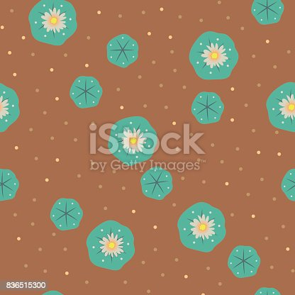 Vector Peyote Lophophora Cactus Seamless Pattern Stock Vector Art & More Images of Abstract 836515300