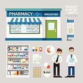 Vector pharmacy drugstore set design, shop store, package, t-shi