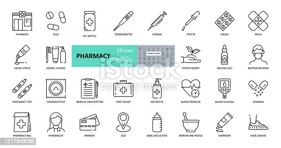 Vector pharmacy icons. Set of 29 images with editable stroke. Online sale medical preparations, equipment, thermometer, syringe, masks, shoe covers, vitamin, cough syrup, first-aid kit, contraceptives