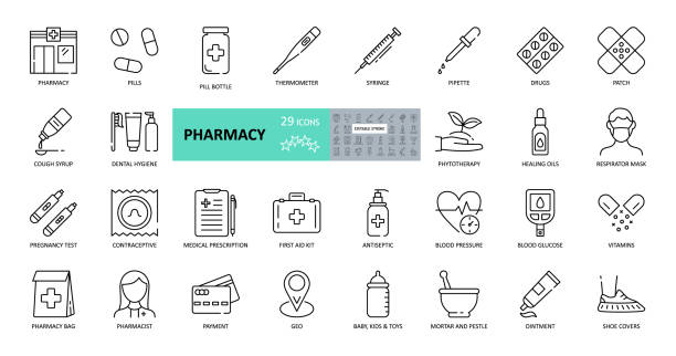 Vector pharmacy icons. Set of 29 images with editable stroke. Online sale medical preparations, equipment, thermometer, syringe, masks, shoe covers, vitamin, cough syrup, first-aid kit, contraceptives Vector pharmacy icons. Set of 29 images with editable stroke. Online sale medical preparations, equipment, thermometer, syringe, masks, shoe covers, vitamin, cough syrup, first-aid kit, contraceptives pharmacy stock illustrations