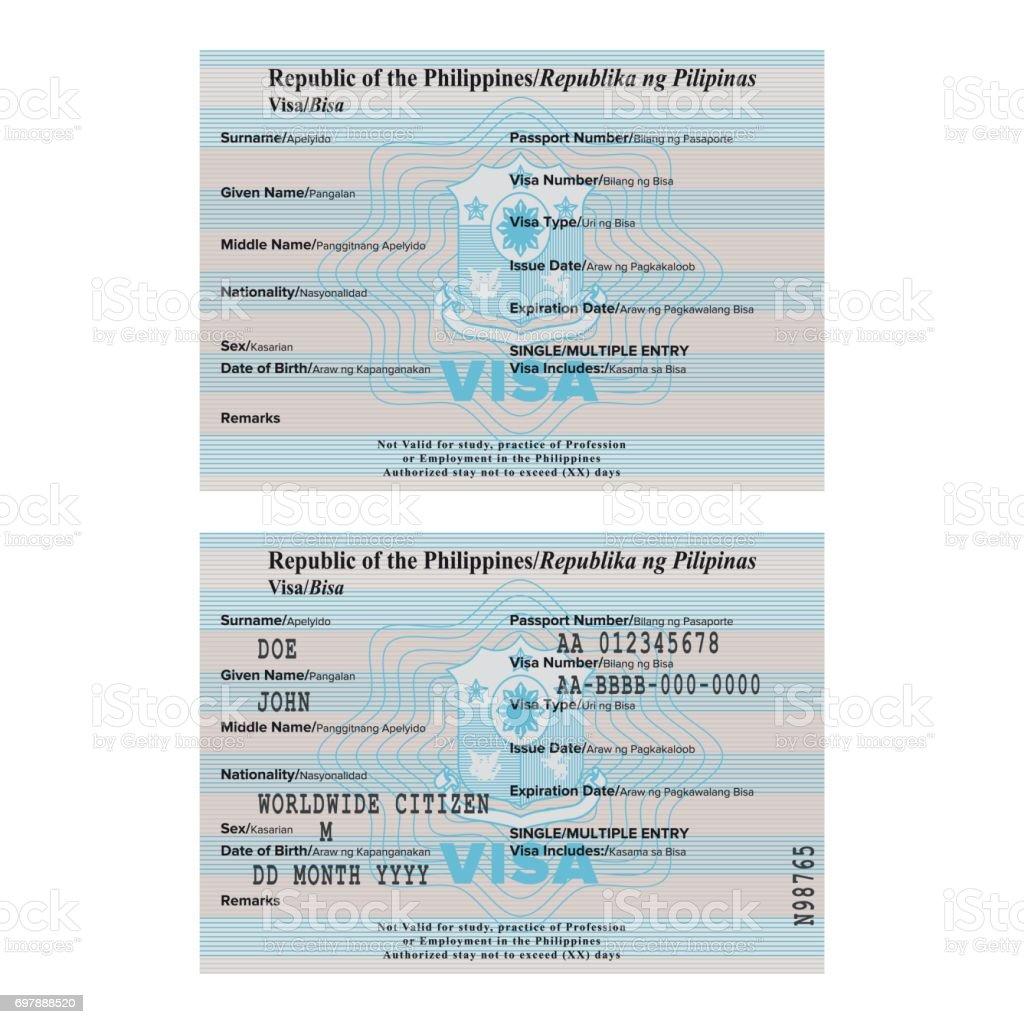 Ilustración de Plantilla De Etiqueta Vector Filipinas Pasaporte Visa ...