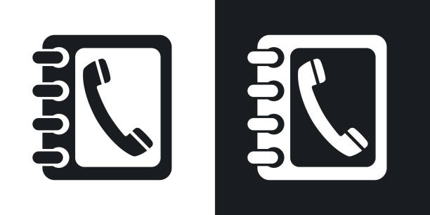 Vector phone book icon. Two-tone version Vector phone book icon. Two-tone version on black and white background telephone directory stock illustrations