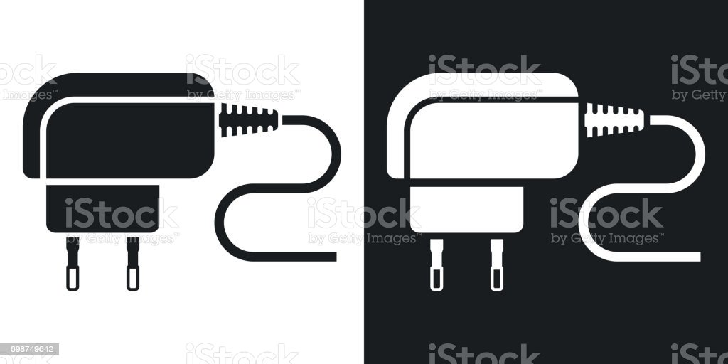 Vector Phone Charger icon. Two-tone version vector art illustration
