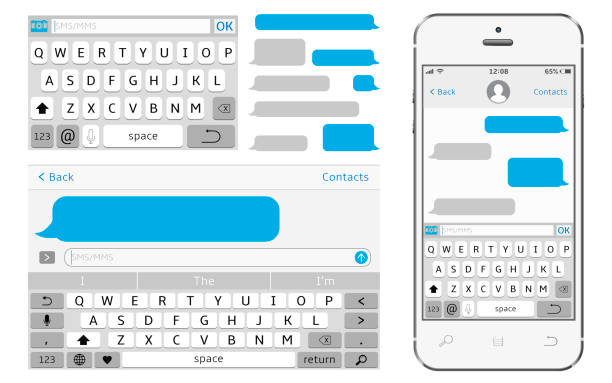 Vector phone chat interface. Sms messenger. Vector phone chat interface. Sms messenger. Speech bubbles. Vector illustration computer keyboard stock illustrations