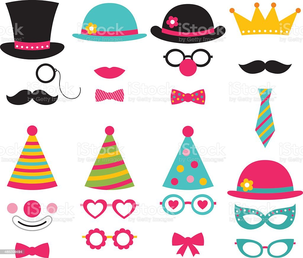 vector photo booth birthday party props stock vector art more images of 2015 485209494 istock. Black Bedroom Furniture Sets. Home Design Ideas