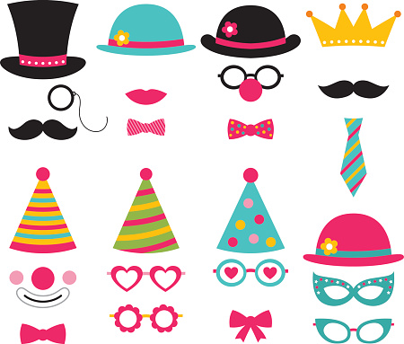 Vector photo booth birthday party props