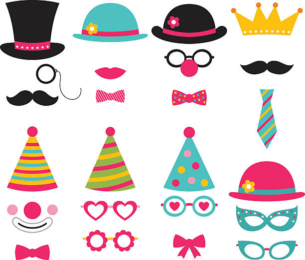 vector photo booth birthday party props - photo booth stock illustrations, clip art, cartoons, & icons