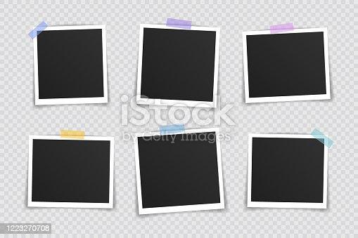 istock Vector Photo frame mockup design. Super set photo frame on sticky tape isolated on transparent background. Vector illustration 1223270708