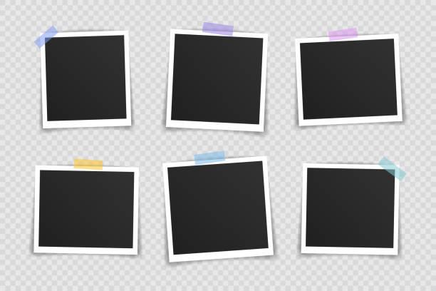 ilustrações, clipart, desenhos animados e ícones de design de maquete de moldura de quadro de foto do vetor. moldura de foto super definida em fita adesiva isolada em fundo transparente. ilustração vetorial - imagem