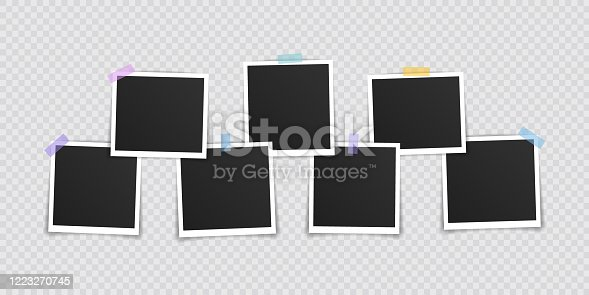 istock Vector Photo frame mockup design. Super set photo frame on sticky tape isolated on transparent background. Vector illustration 1223270745