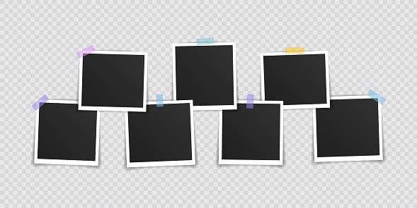 Vector Photo frame mockup design. Super set photo frame on sticky tape isolated on transparent background. Vector illustration.