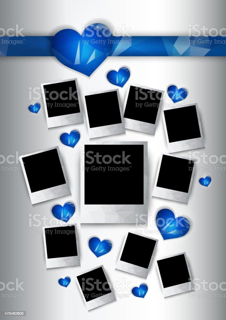 Ilustración de Vector De Marcos De Fotos Con Azul Corazones Para ...