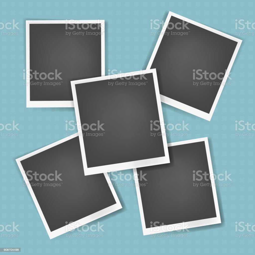 Vector photo frames with white edges collection vector art illustration