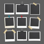 Vector photo frame.Set of realistic paper photograph.Template photo design.