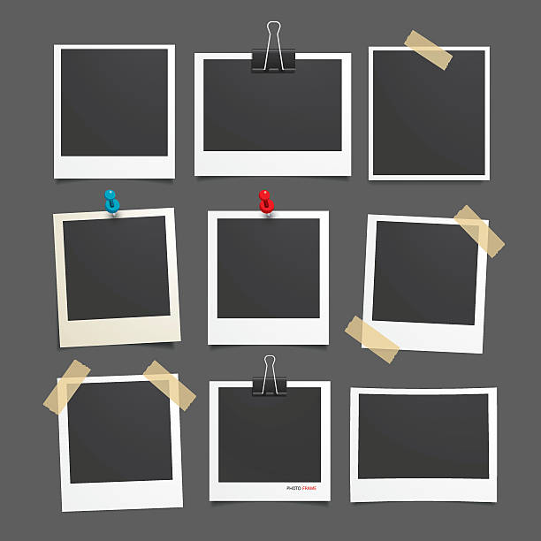 vector photo frame.set of realistic paper photograph. - record analog audio stock illustrations