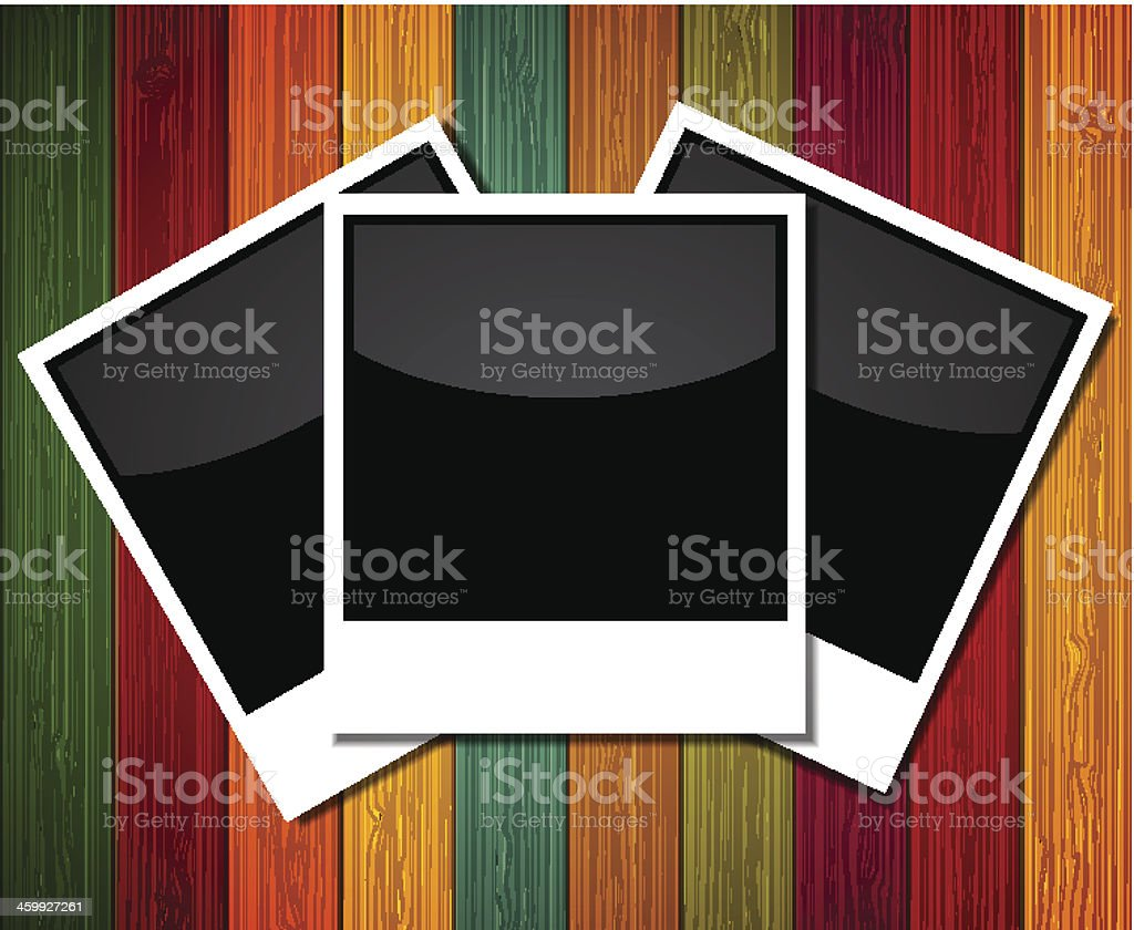 Vector photo on colorful wooden background. Eps10 royalty-free stock vector art