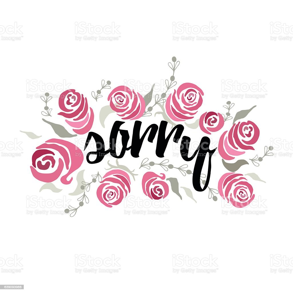 Vector phrase Sorry decorated hand painted beautiful pink roses. Inspirational vector art illustration