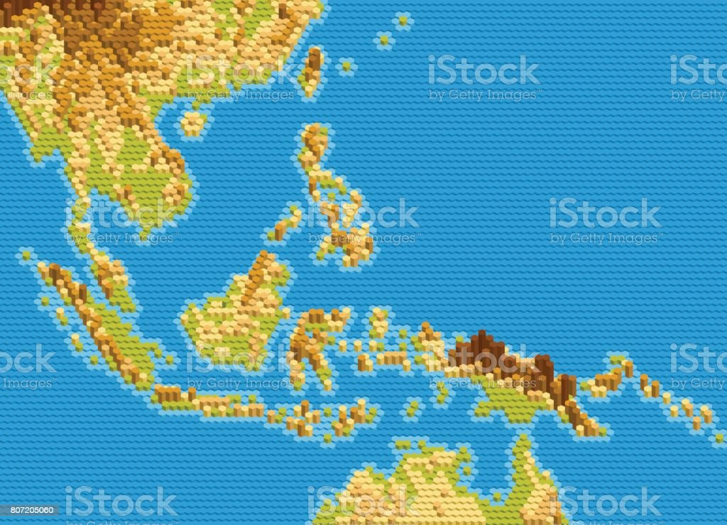 Vector Physical Map Of Southeast Asia Stylized Using ...