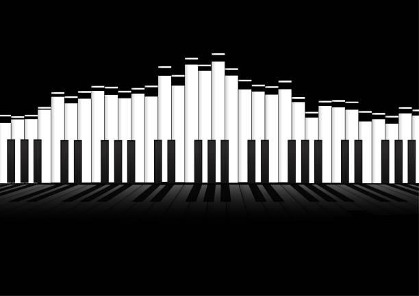Vector : Piano keyboard equalizer concept on black background vector art illustration