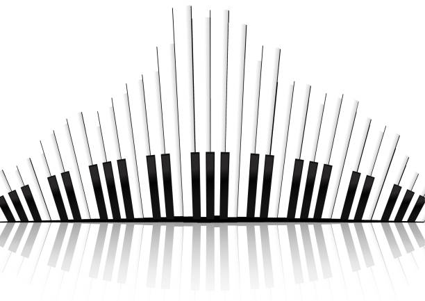 Vector : Piano keyboard equalizer concept on white background vector art illustration