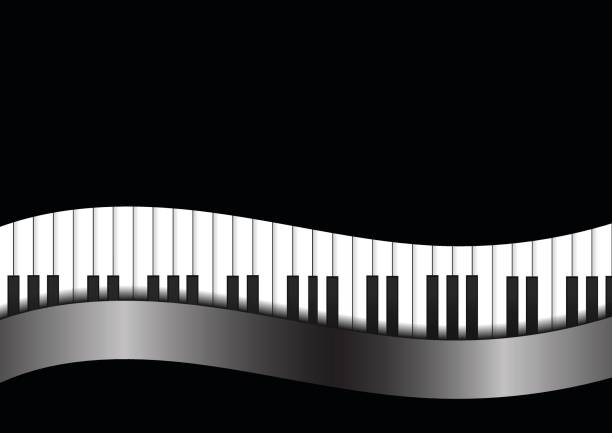 Vector : Piano with curve on black background vector art illustration