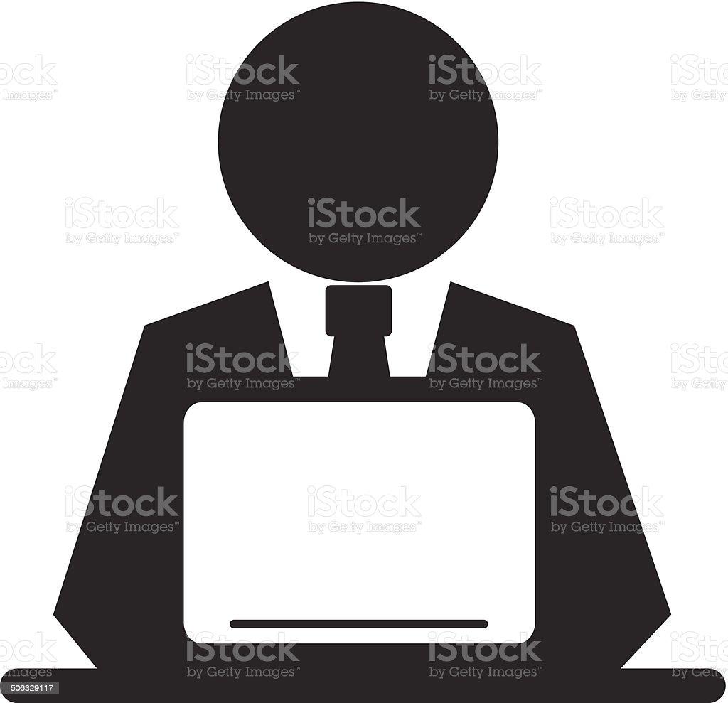 Vector Pictogram Businessman Working on Computer vector art illustration