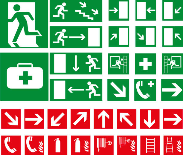 Vector pictograms Vector pictograms emergency equipment stock illustrations